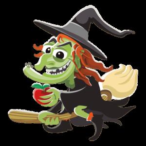 Dibujo de bruja en la fiesta de Halloween para niñas y niños valientes en Booster Learning Cewnter